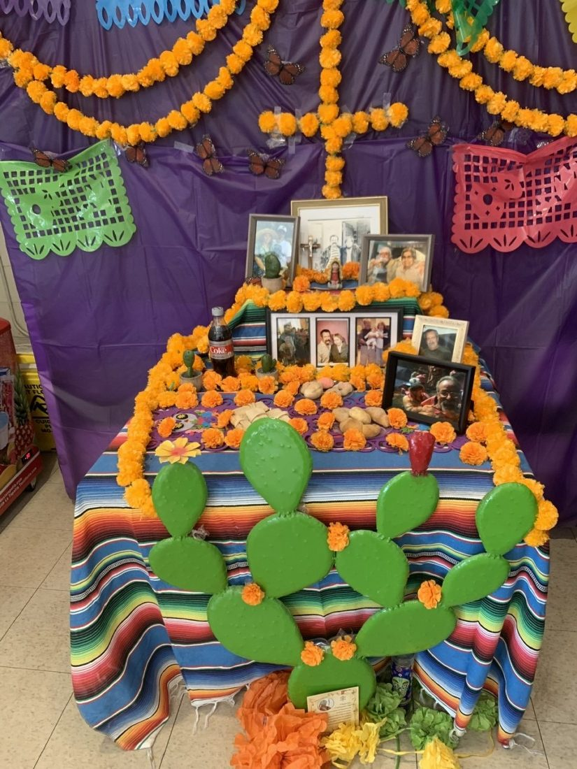 An ofrenda set up in El Nopal Bakery for founder Adolfo Berlanga. Photo courtesy of Frankie Berlanga.