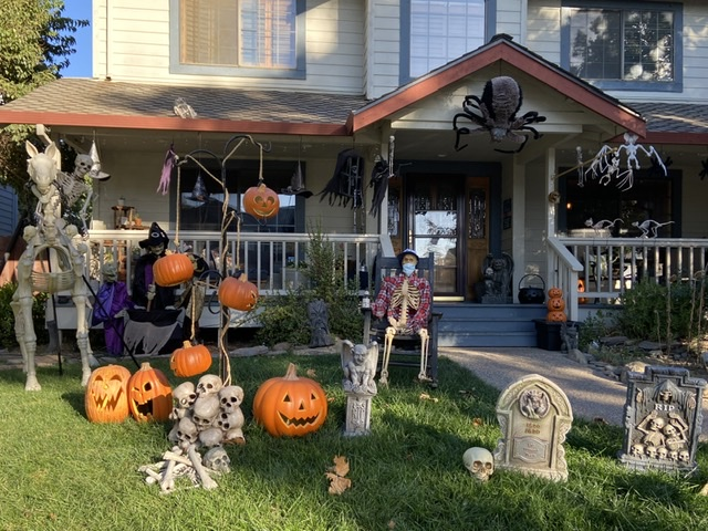 The homes decorated for Halloween on Severinsen Street in Hollister look great day or night. Photo by Patty Lopez Day.