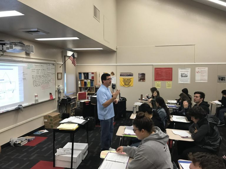 SBHS world history instructor Frank Perez teaching in the classroom pre-pandemic. Photo courtesy of Frank Perez.