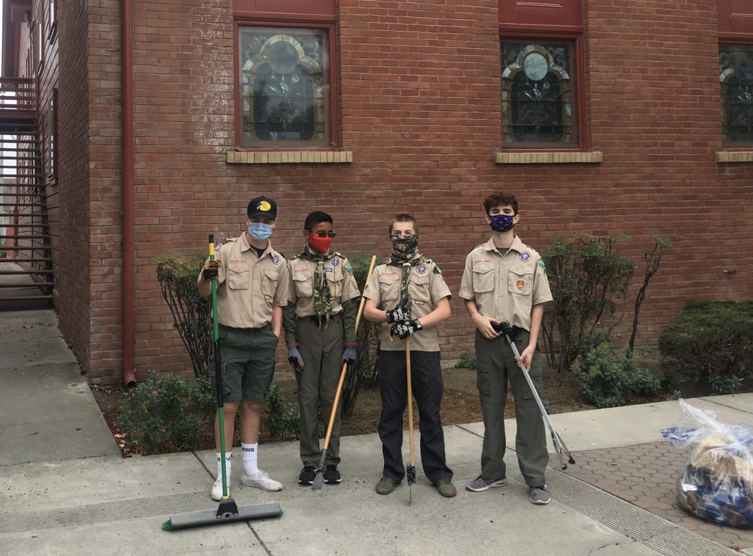 Troop 455 Boy Scouts Jake Barnes, Zander Brister, Isaac Eyster and Bryce Hurtado. Photo by Andrew Pearson.