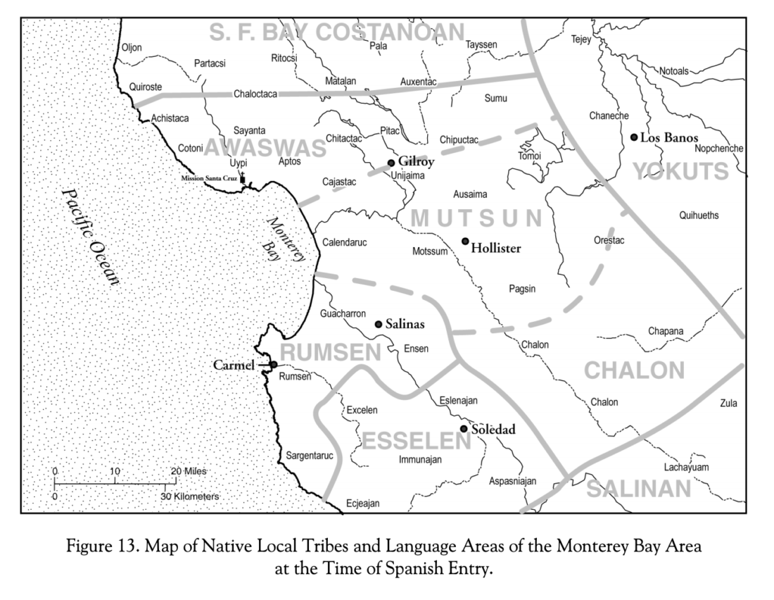 Map of language areas from book, Ohlone/Costanoan Indians of the San Francisco Peninsula and their Neighbors, Yesterday and Today