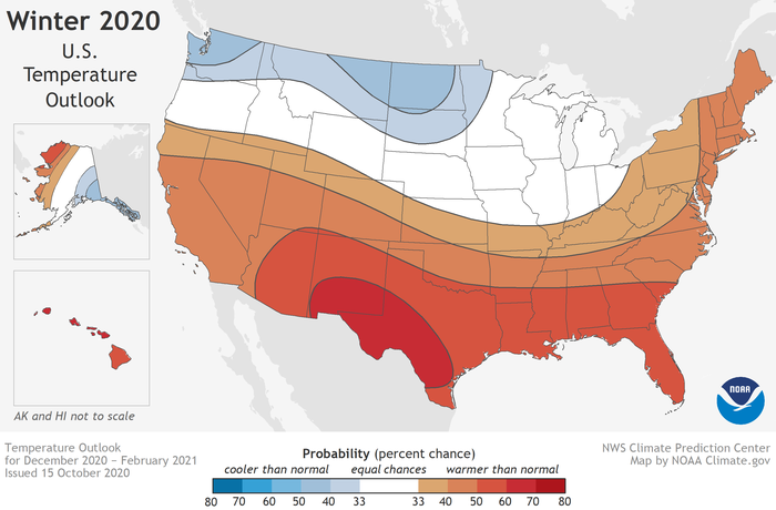 NOAA winter forecast, courtesy of Shawn Novack.