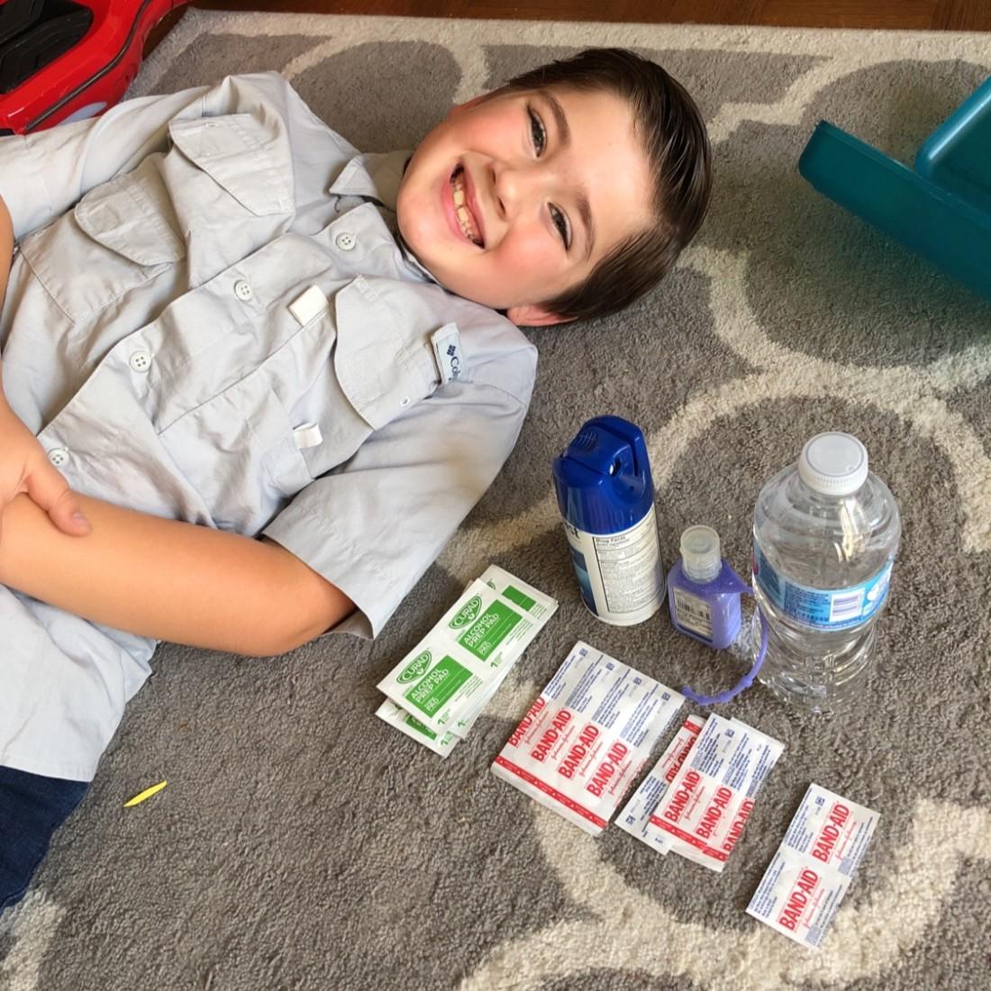 Romo's emergency kit. Photo courtesy of Bryan Feci.