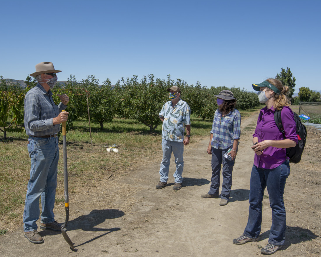 Site visit with SBALT and funder at Phil Foster Ranch in San Juan Bautista. Left to right: Landowner Phil Foster (with shovel), Paul Hain, SBALT Board member, Karminder Brown, SBALT contractor, and Elizabeth Palmer, USDA NRCS (funder). Photo by Cathy Summa-Wolfe.