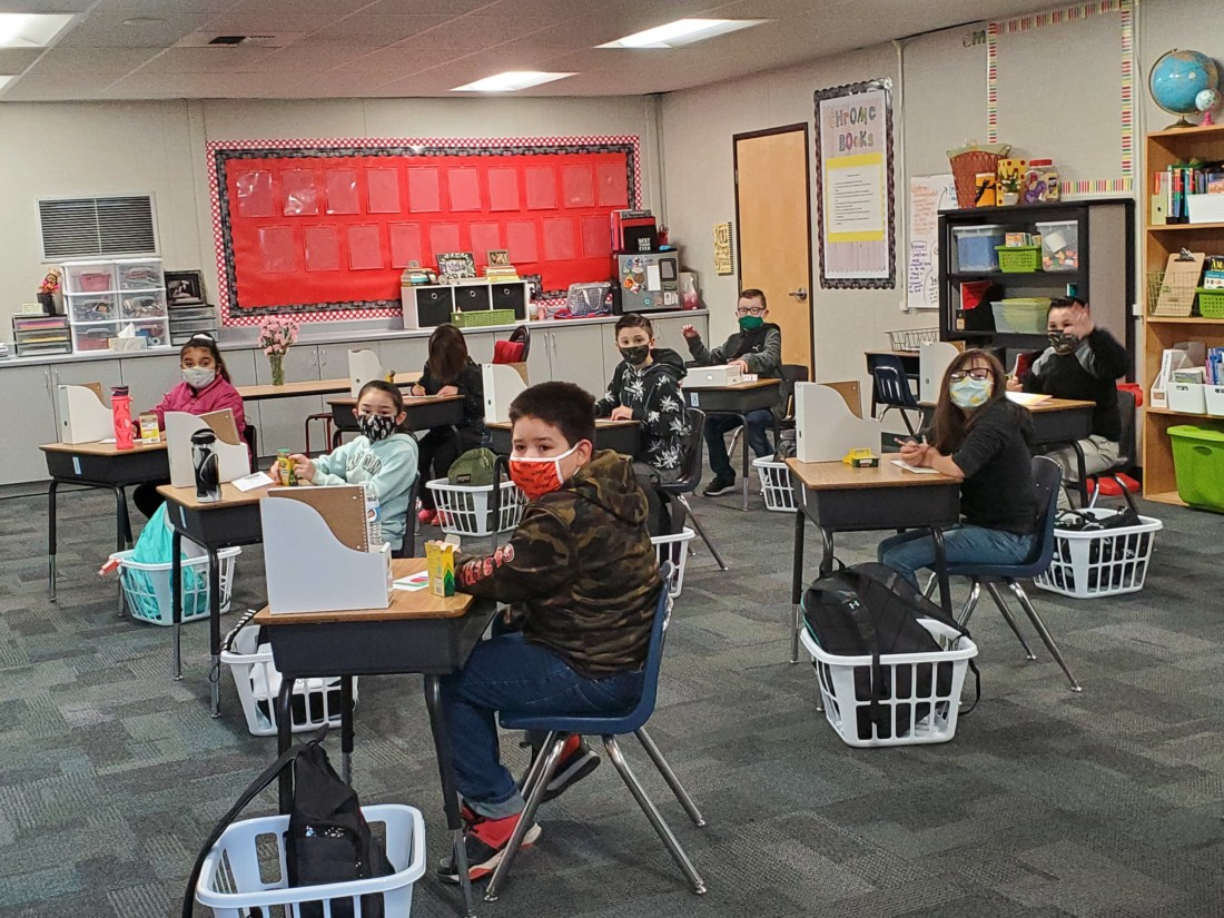 Students are socially distanced in the classroom. Photo courtesy of Spring Grove.