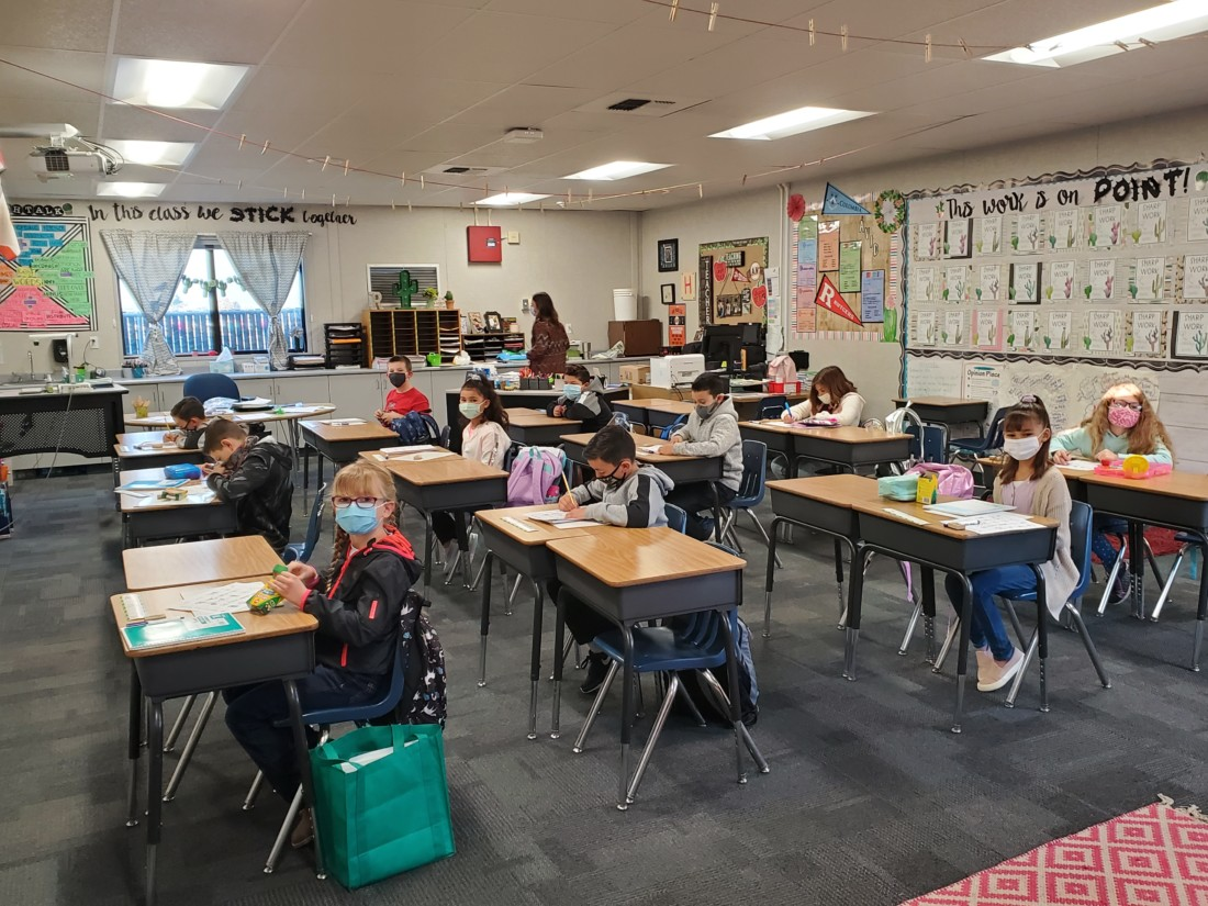 Spring Grove students are socially distanced in class on first day back to in-person instruction. Photo courtesy of Spring Grove.