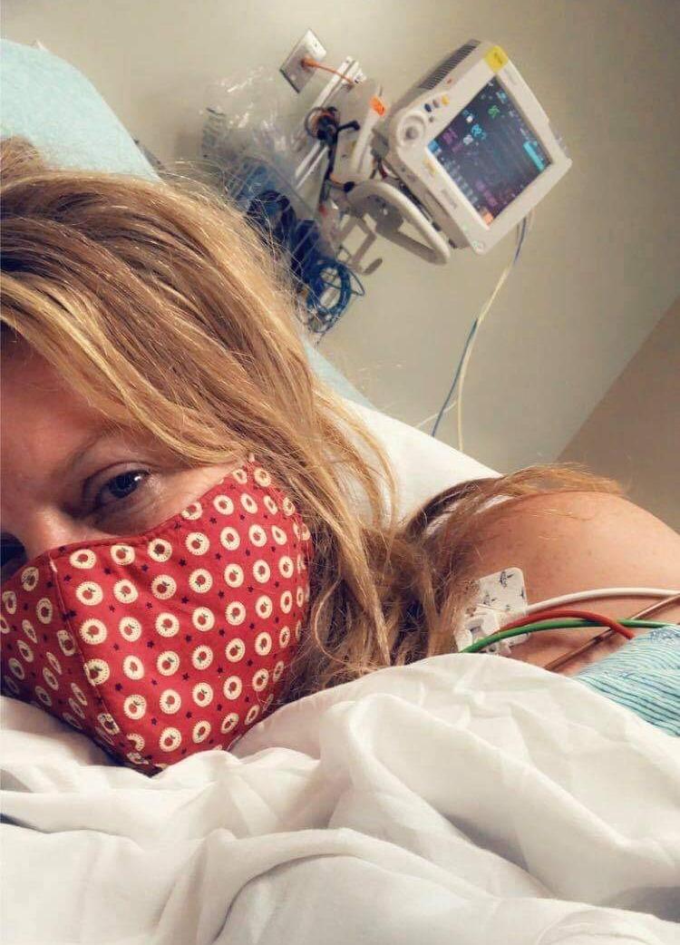 Tiffany Wyrick in the hospital shortly after admission. Photo by Tiffany Wyrick