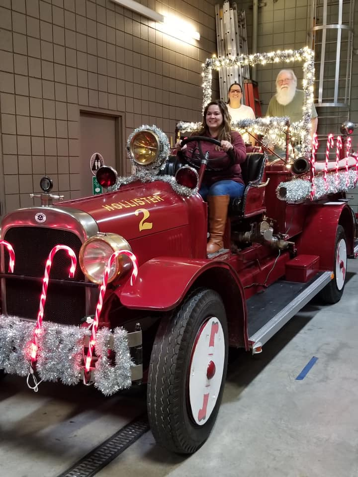 The Gibbs family drives the Hollister Fire Department float during the 2019 Lights On Parade. Photo courtesy of Corey Shaffer.