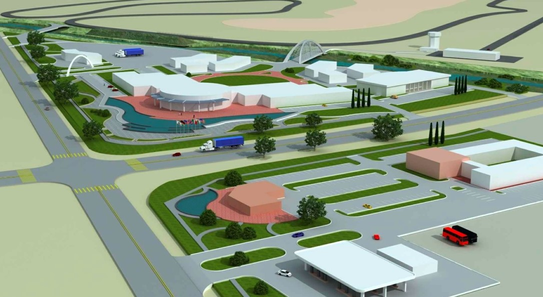 The planned vehicle testing facility would include two hotels, a convention center and two testing tracks. Photo courtesy of Richard Pedley Architect.