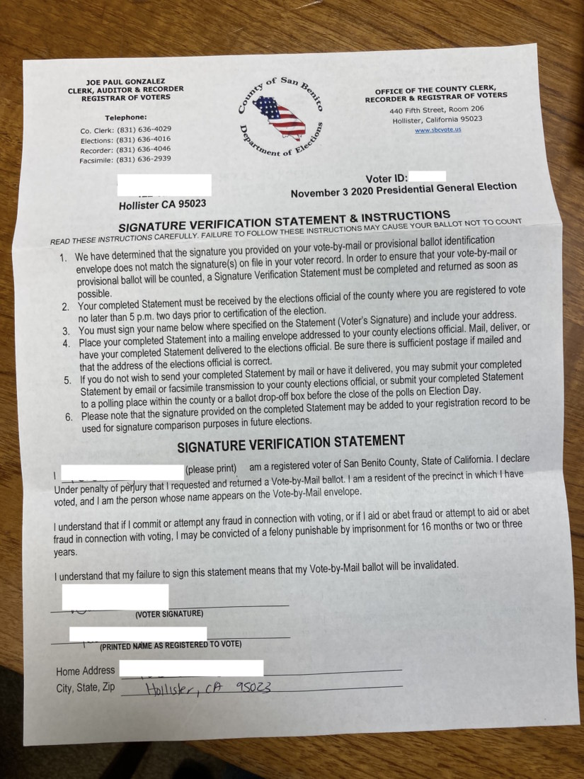 Letter sent to voters who had their ballot challenged because of a signature issue. Photo by Noe Magaña.