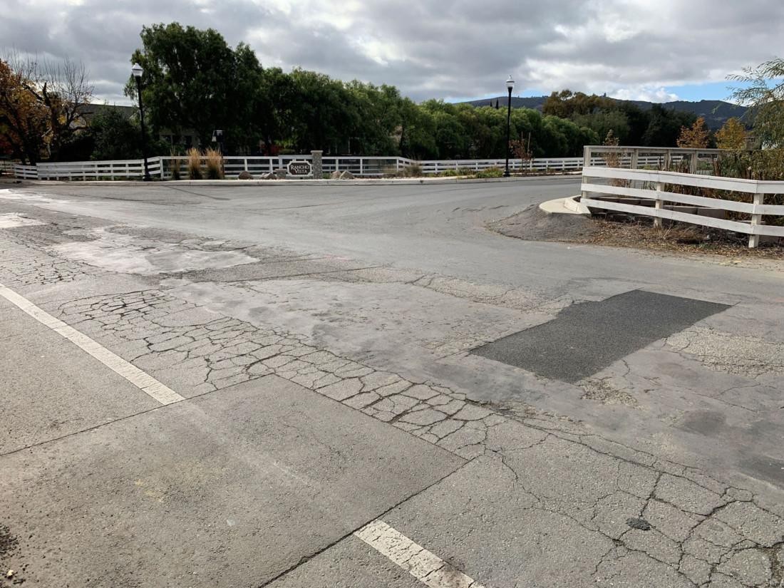 Future location of a roundabout outside the Rancho Vista development in San Juan Bautista. Photo by Robert Eliason.
