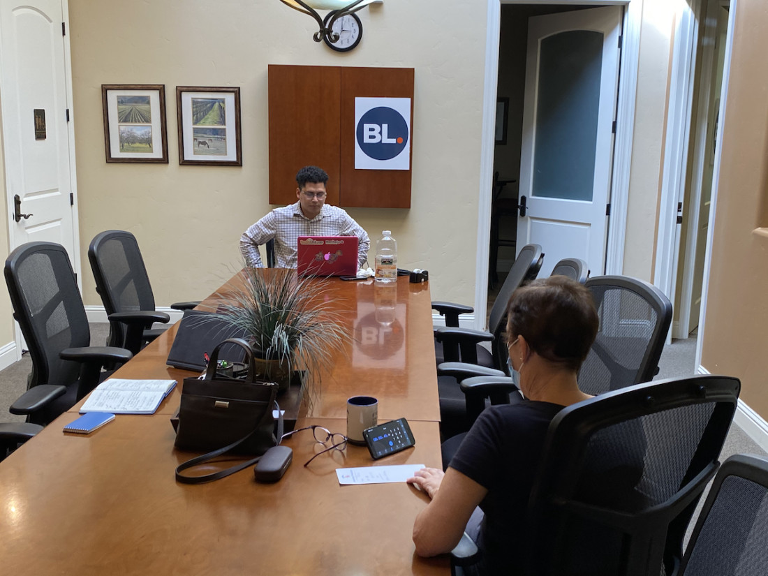 BenitoLink reporter Noe Magaña gets ready for another online Election Forum session with candidates. Photo by Leslie David.