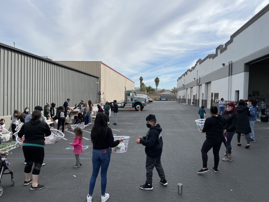 "The basket ""assembly line"" on Nov. 21. Photo courtesy of Sarah Nordwick."