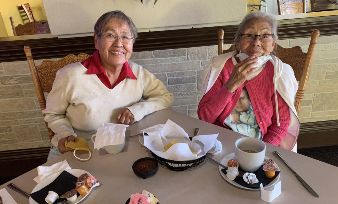 Victoria Montoya and her 94-year-old mother Longina at La Catrina in Hollister. Photo by Robert Eliason.