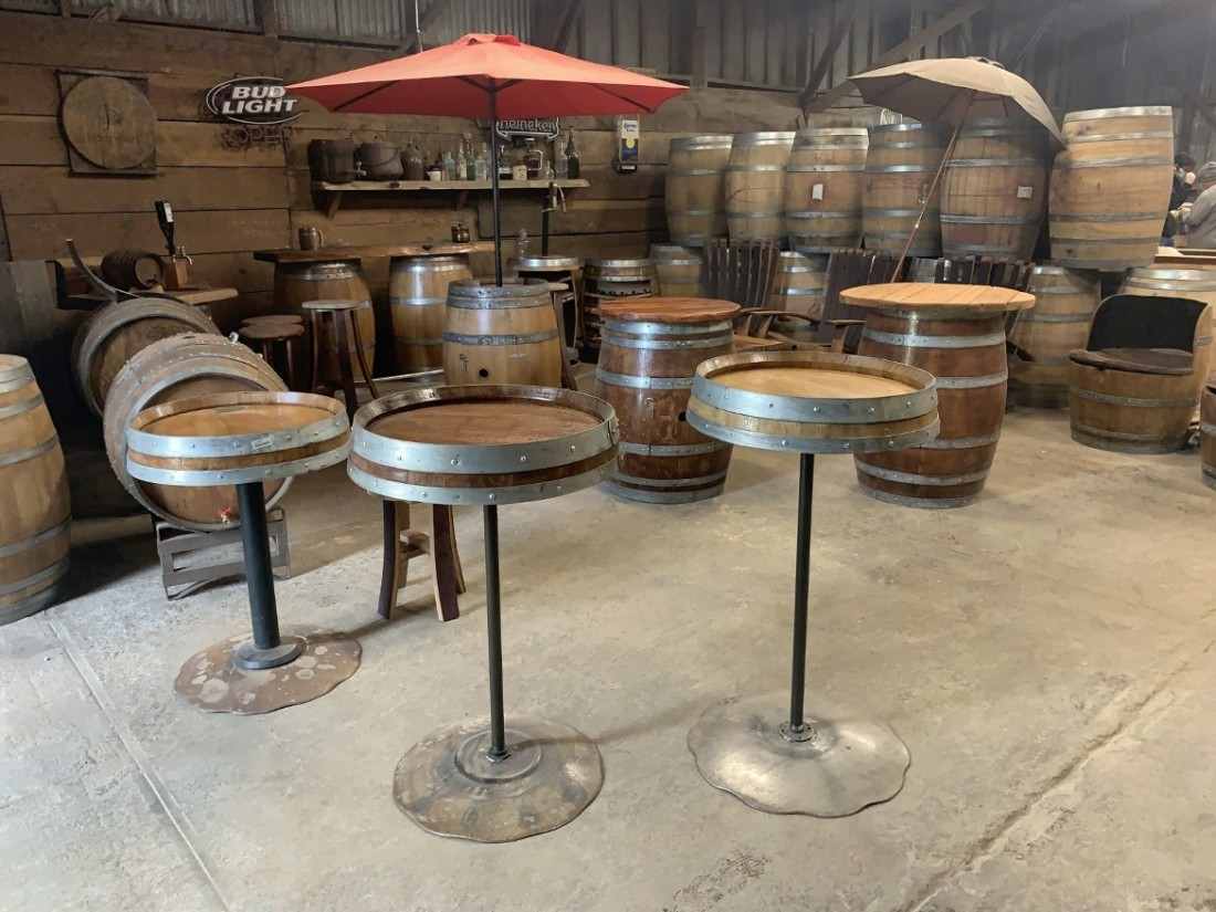 Wine barrel furniture. Photo by Robert Eliason.