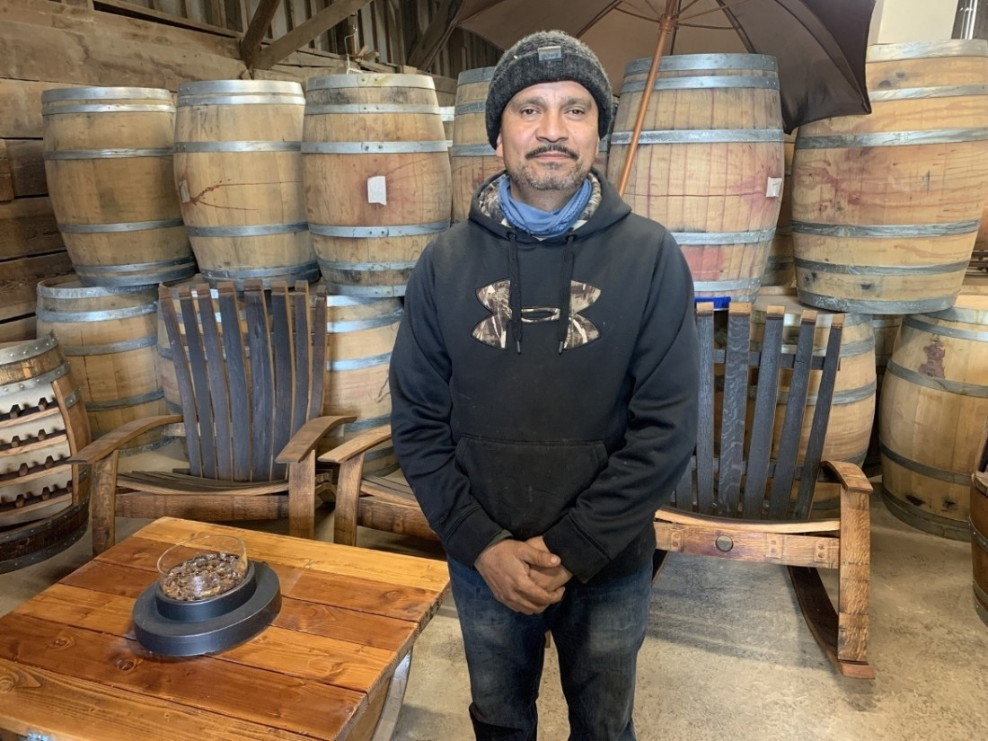 Juan Rodriguez, owner of J &S Barrels, Slabs, and Metals in San Juan Bautista. Photo by Robert Eliason.