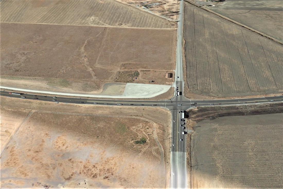 The intersection of San Felipe Road and Highway 156. The plan is to bring the intersection into city limits for a proposed vehicle testing facility known as the Hollister Research Campus. Image courtesy of Google Earth.