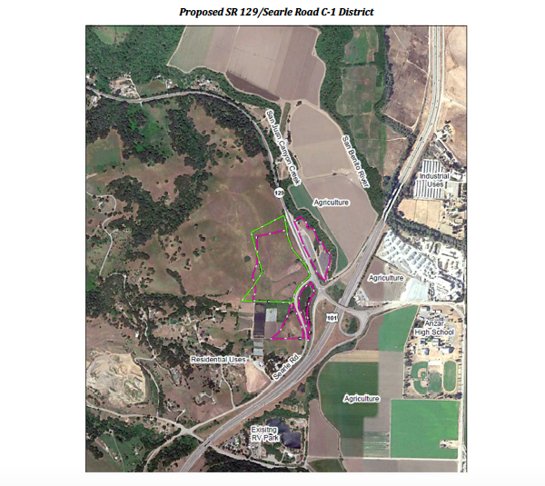 The proposed area to be rezoned is outlined in green. The other areas were included in the C-3 rezoning. Image from agenda packet.
