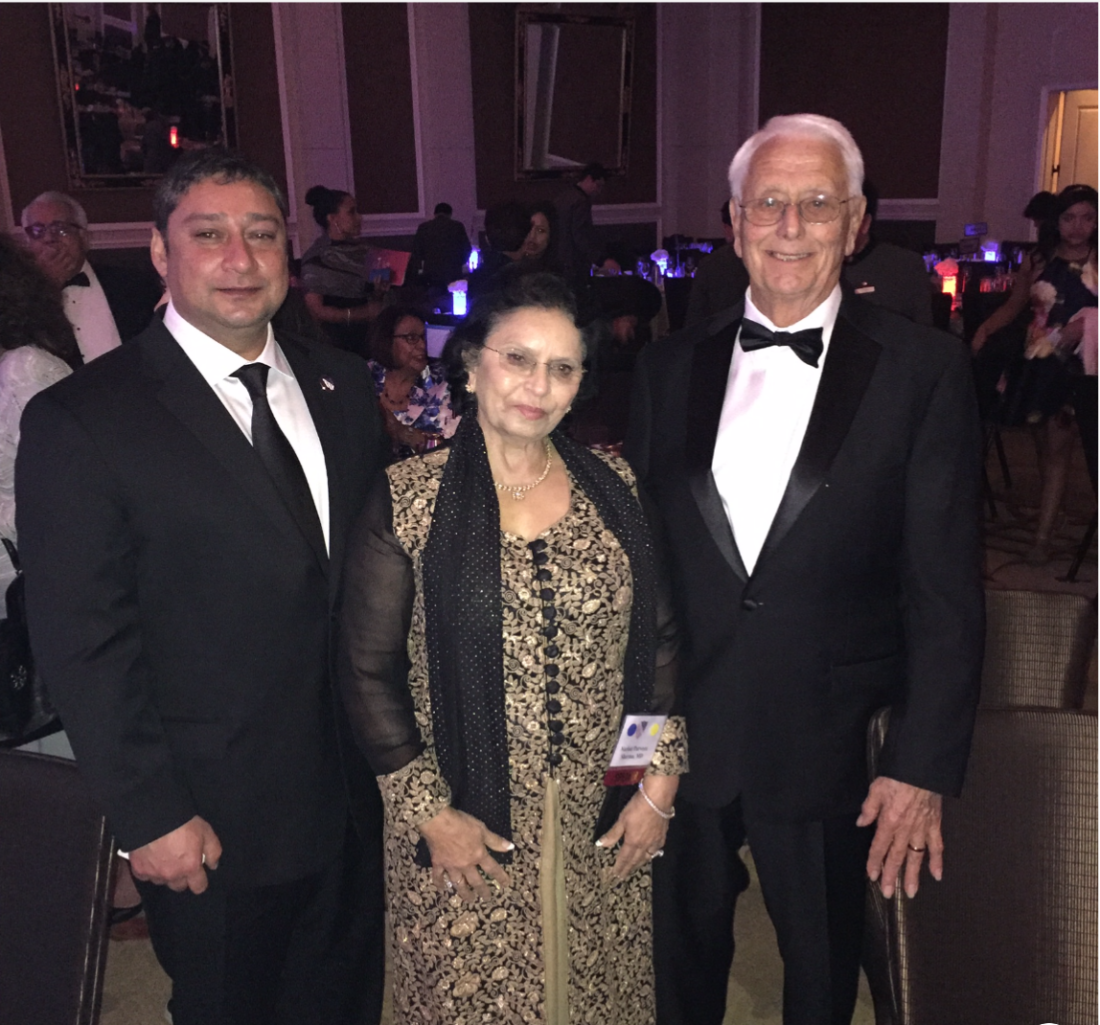 Rohit Sharma (left), Parveen Sharma and George Ball (right)