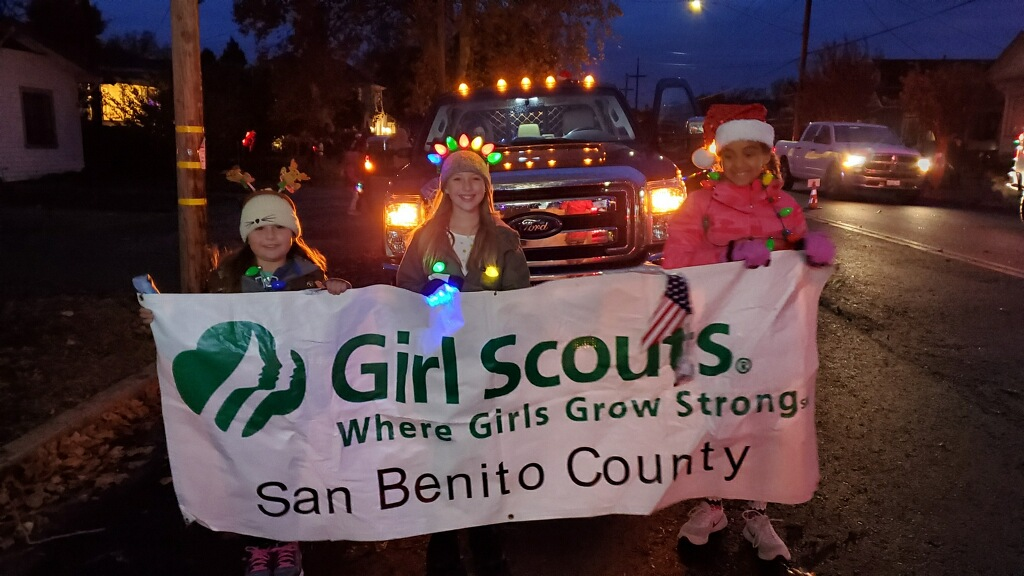 Hollister Girl Scouts march in the 2019 Lights On Parade. Photo courtesy of Vanessa Rosa.