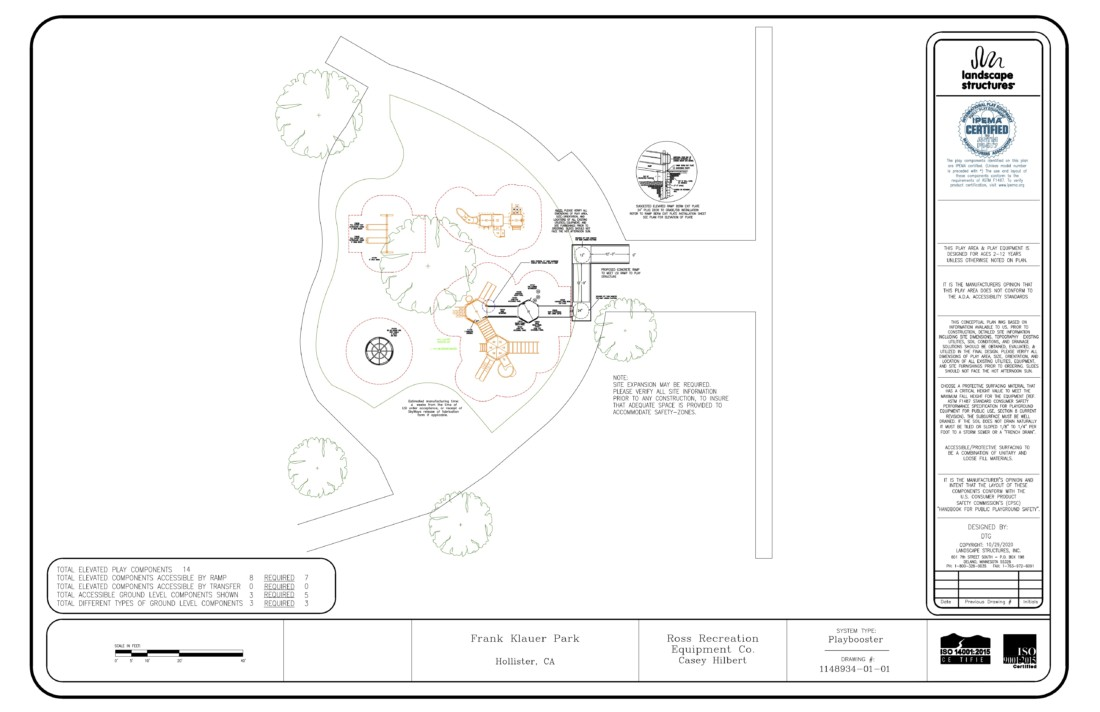 Plans for Frank Klauer Park. Image courtesy of city of Hollister.