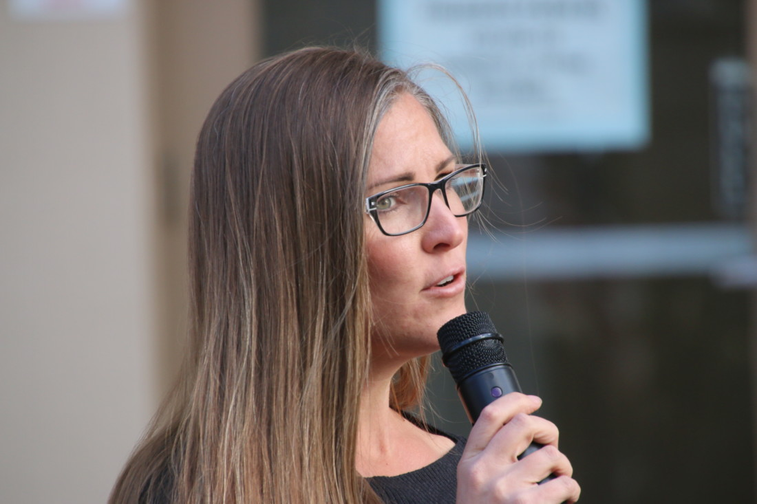 At a stay at home order protest in 2020, Courtney Evans said more than 4,000 people have come to her yoga studio during the pandemic.