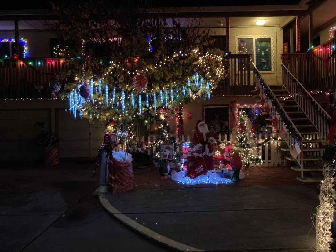 Deep within the apartment complex, a tree is surrounded by decorations. Photo by Noe Magaña.