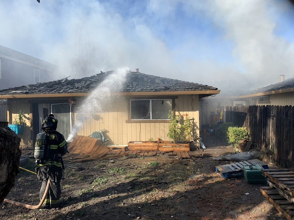A chimney fire sparked on Dec. 7 at 801 Marentis Court in San Juan Bautista. Photo by Robert Eliason.