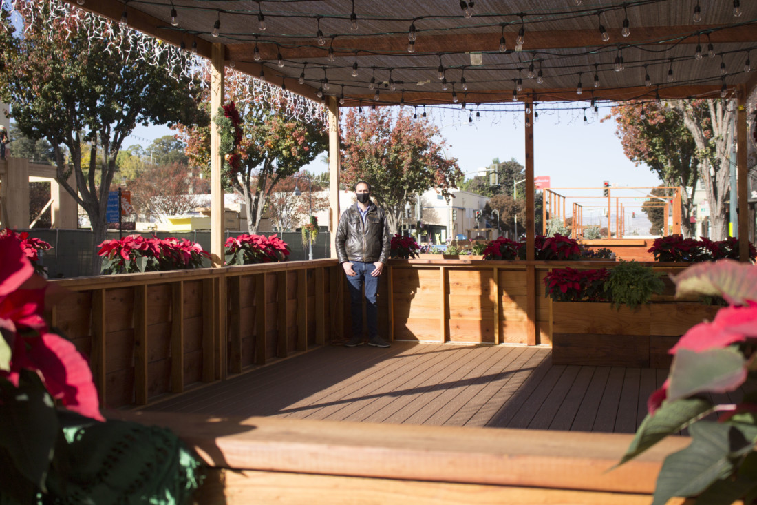 La Catrina General Manager Gustavo Gonzales on Dec. 8 in an empty parklet located in front of the restaurant on San Benito Street. Photo by Noe Magaña.