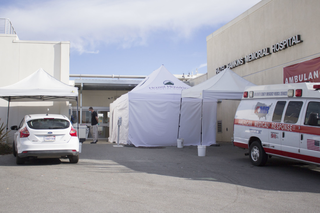 Hazel Hawkins Memorial Hospital has tents set up outside to service a higher amount of patients. Photo by Noe Magaña.