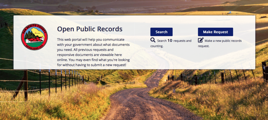 Screenshot of San Benito County's public records page.