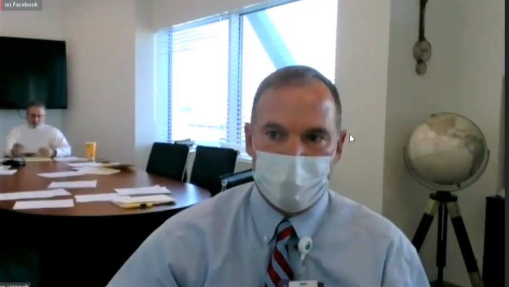 Steven Hannah, CEO of Hazel Hawkins Memorial Hospital. Zoom screenshot by John Chadwell.