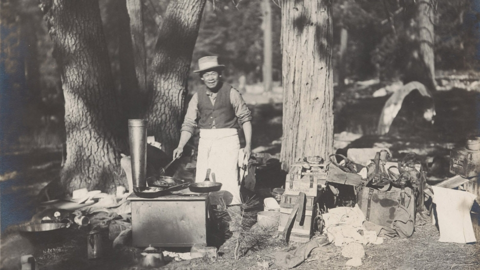 Tie Sing at his cook stove. Photo courtesy of the Bancroft Library, University of California, Berkeley and provided by Sharlene Van Rooy.