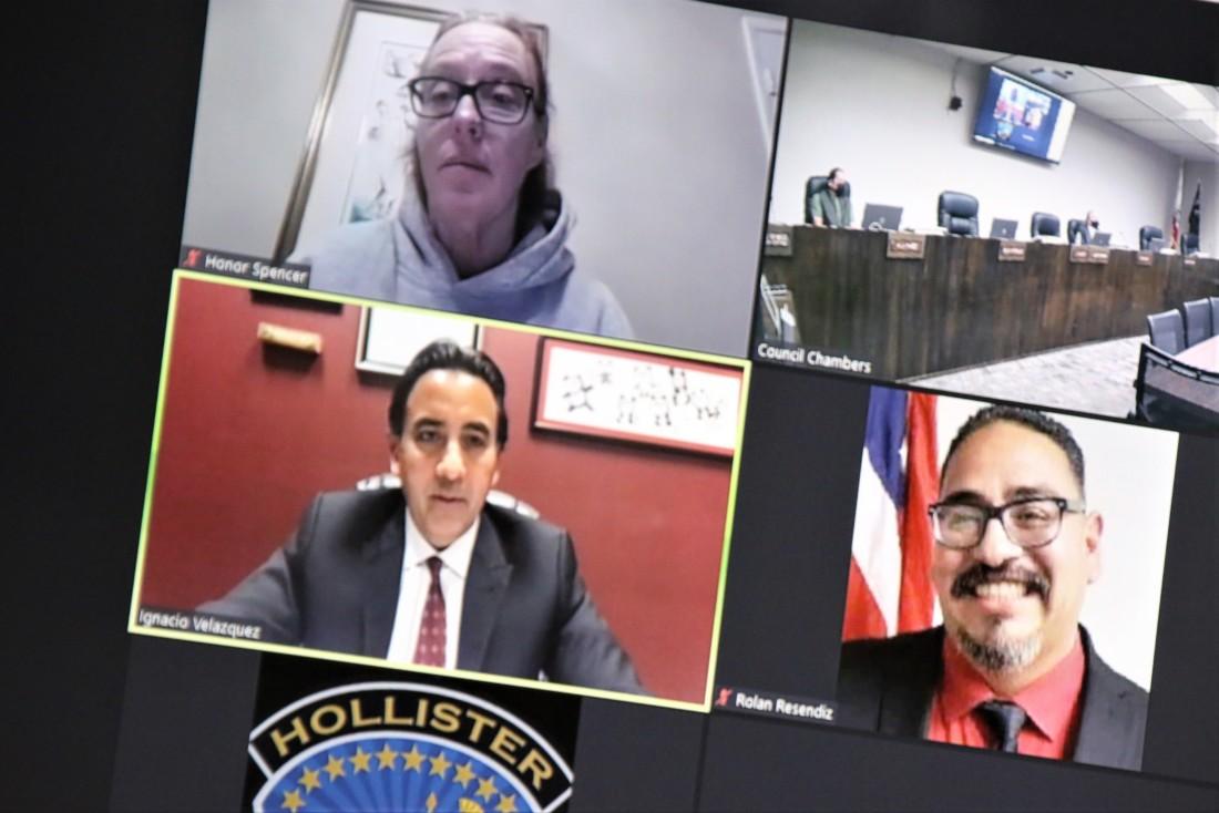 Councilwoman Honor Spencer, Mayor Ignacio Velazquez and Councilman Rolan Resendiz participated via Zoom. Photo by John Chadwell.