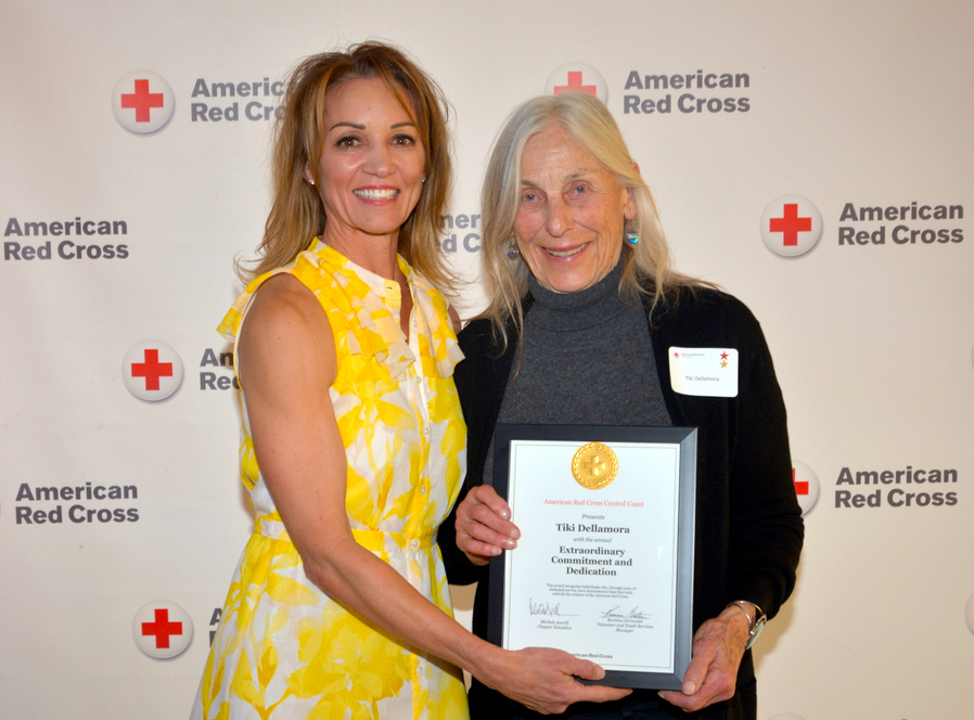 Tiki Dellamora, right, is shown accepting another award at the Central Coast Chapter's recognition event in 2018, honoring local Red Cross volunteers. Pictured with Tiki is Michele Averill, CEO of the local Red Cross chapter. Photo provided by Red Cross.