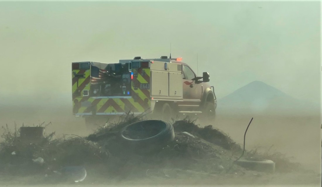 Firefighters worked all day to put out a fire at Comgro Soil Amendments on Jan. 19. Photo courtesy of Hollister Fire Department.