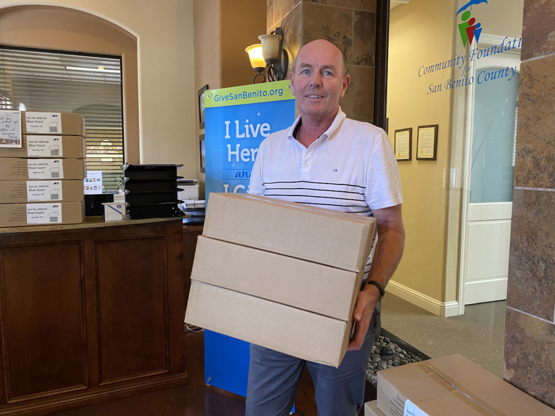 Community Foundation for San Benito County's Gary Byrne delivers more masks and cleaning supplies, keeping local nonprofits stocked as they help the public through this crisis. Photo by Leslie David.