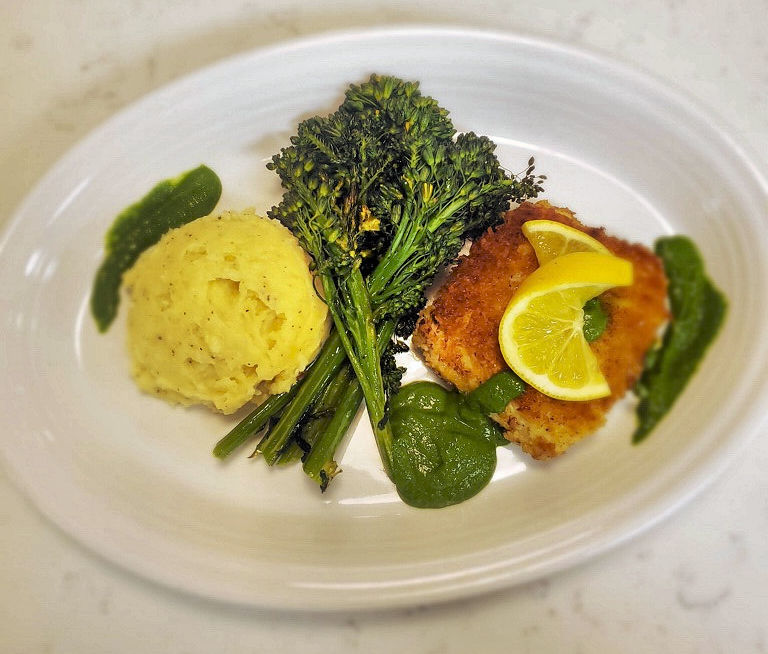 Becky Herbert's parmesan-crusted halibut. Photo courtesy of Off the Hook Essentials.
