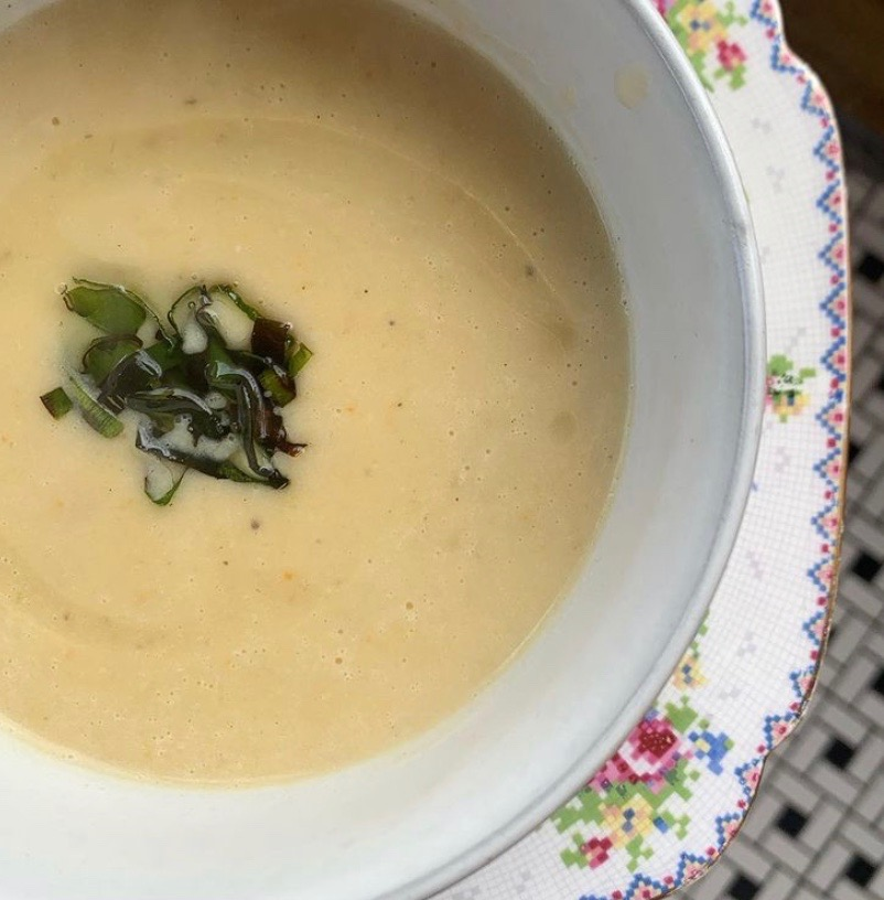 Potato leek soup topped with fried leek greens. Photo courtesy of Sarah Griss.