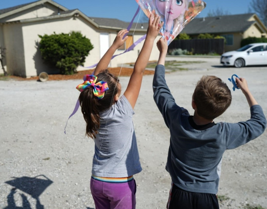 Students at Chamberlain's Youth Services enjoy the fresh air and try out kite flying. Photo courtesy of Chamberlain's.