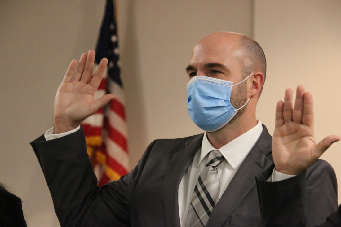 Kollin Kosmicki strongly supports a countywide mask ordinance. Photo by John Chadwell.