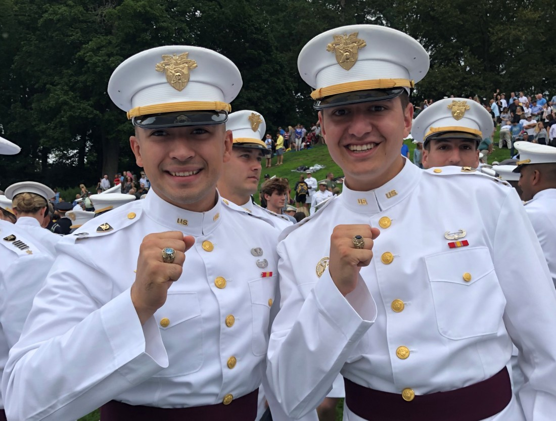 Matt Gastello (right) shows off his class ring at West Point. Photo courtesy of Matthew Gastello.
