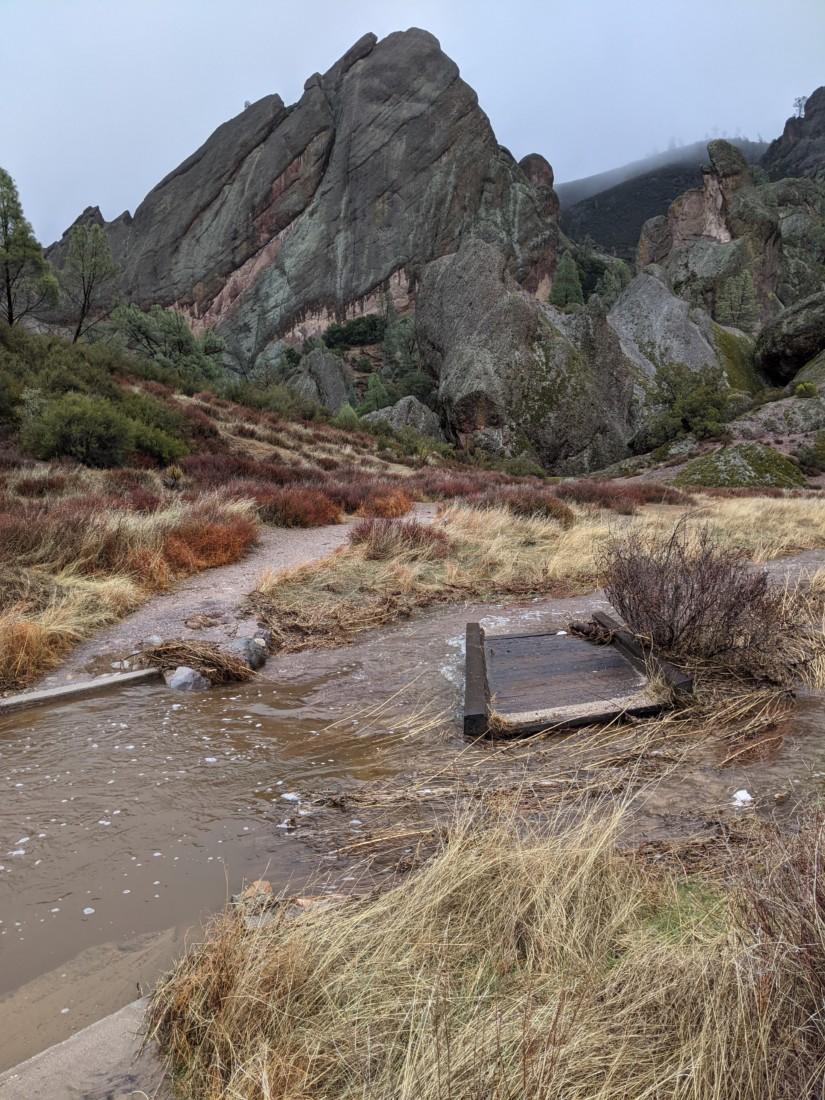 Bridge damage. Photo courtesy of Pinnacles National Park.