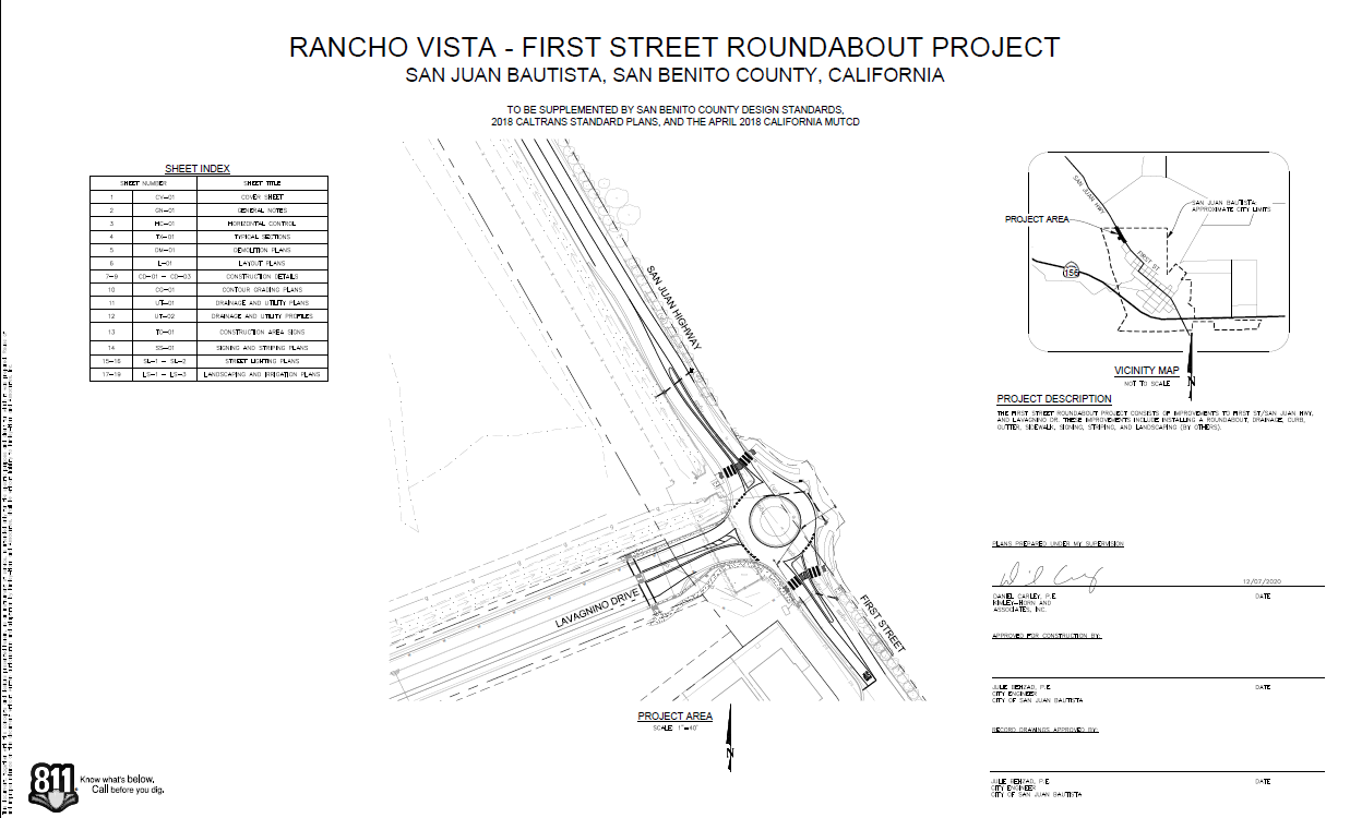 Design for a planned roundabout on First Street in San Juan Bautista. Image courtesy of Julie Behzad.
