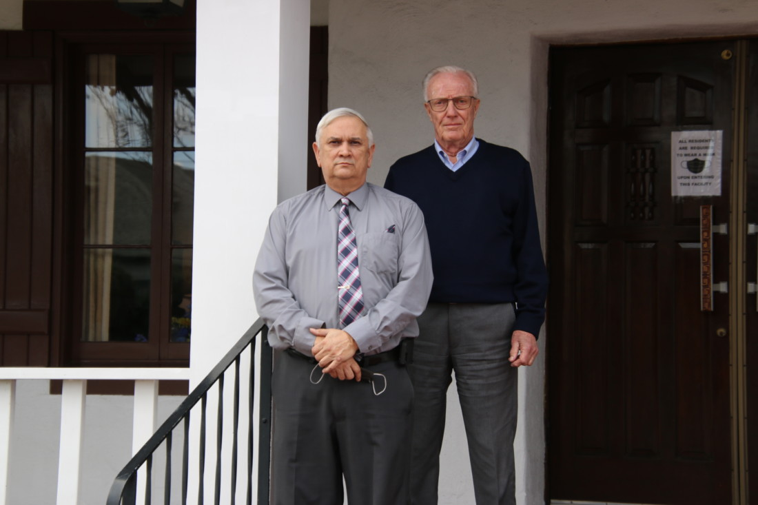 Marchel Nelson and Tom Ament, owners of Grunnagle-Ament-Nelson Funeral Home in Hollister. Photo by John Chadwell.