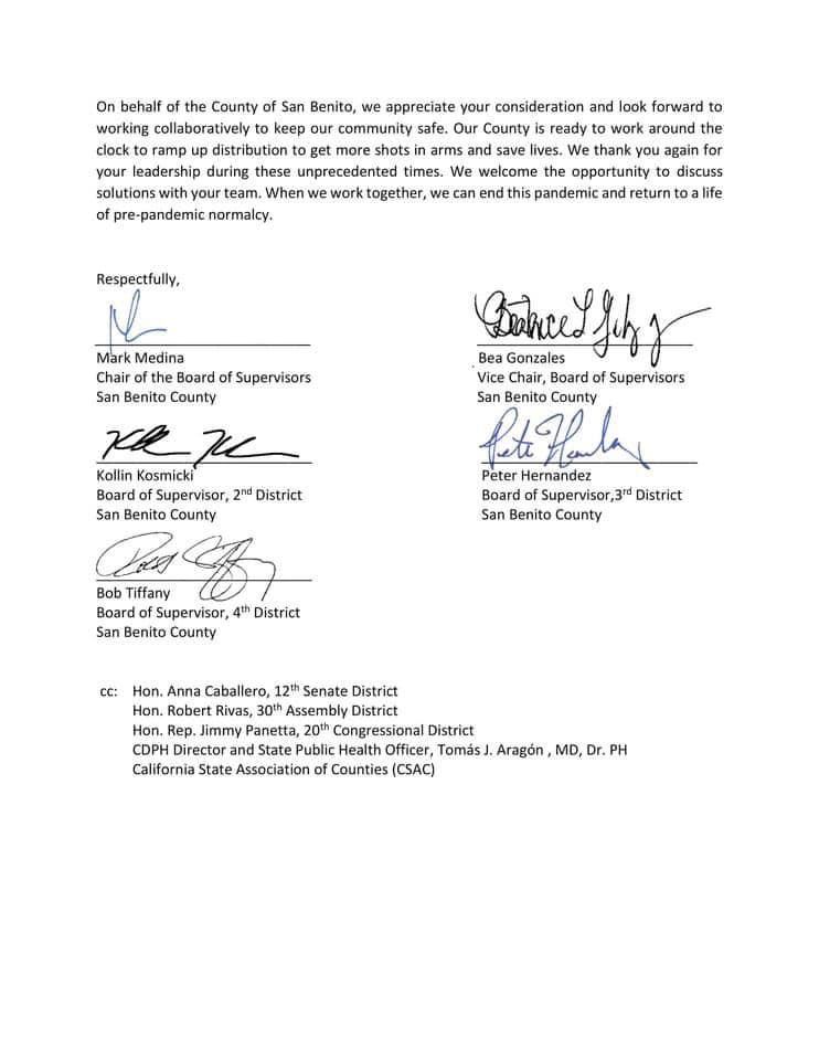 Letter to the Governor from the San Benito County Board of Supervisors.