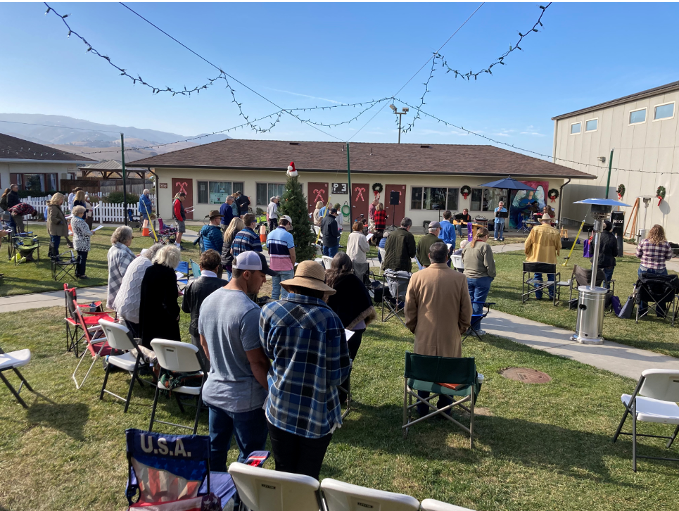 Outdoor services at Christ Fellowship church in Hollister. Photo courtesy of Pastor Mike Hogg.