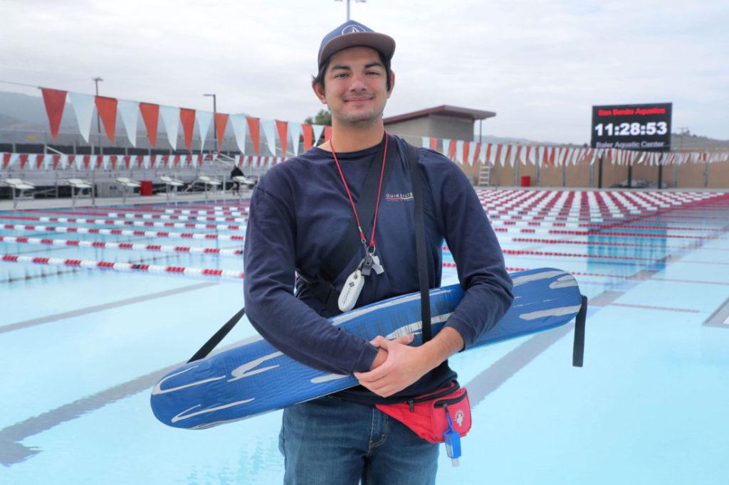 Lifeguard Dawson Garcia at the San Benito High School pool, operated by San Benito Aquatics. Photo by Robert Eliason.