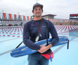 Lifeguard Dawson Garcia at the San Benito High School pool, operated by San Benito Aquatics. Photo by Robert Eliason.