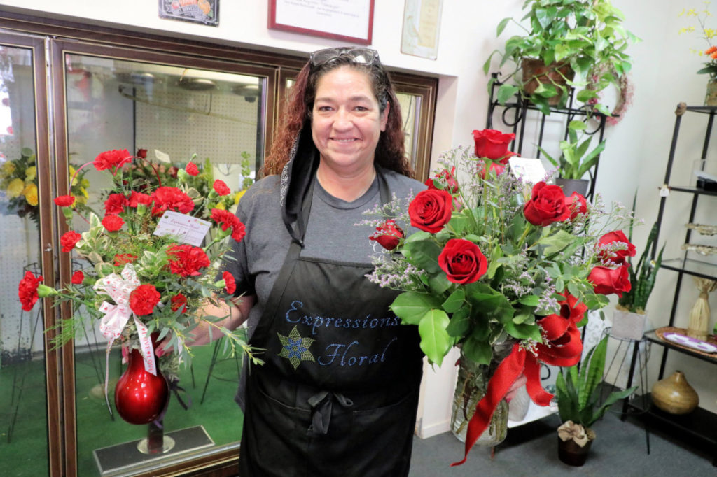 Covina Hensley, manager of Expressions Floral in Hollister. Photo by Robert Eliason.